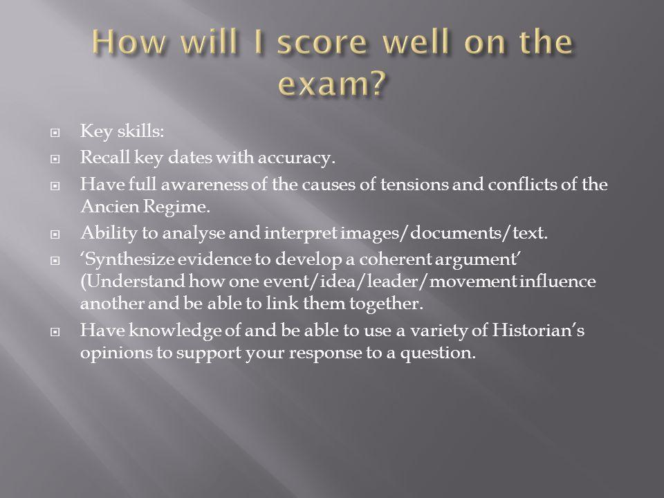  Key skills:  Recall key dates with accuracy.