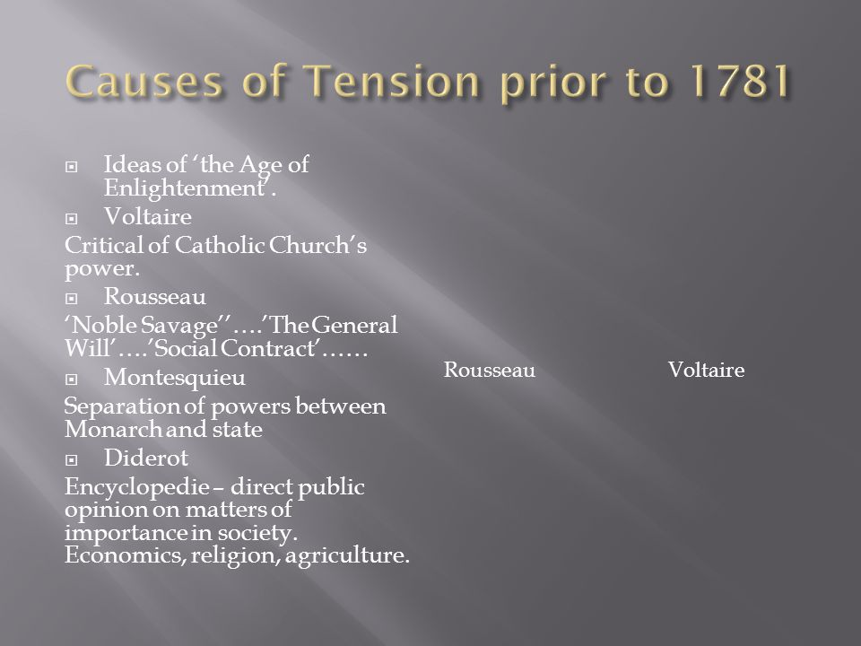  Ideas of 'the Age of Enlightenment'. Voltaire Critical of Catholic Church's power.