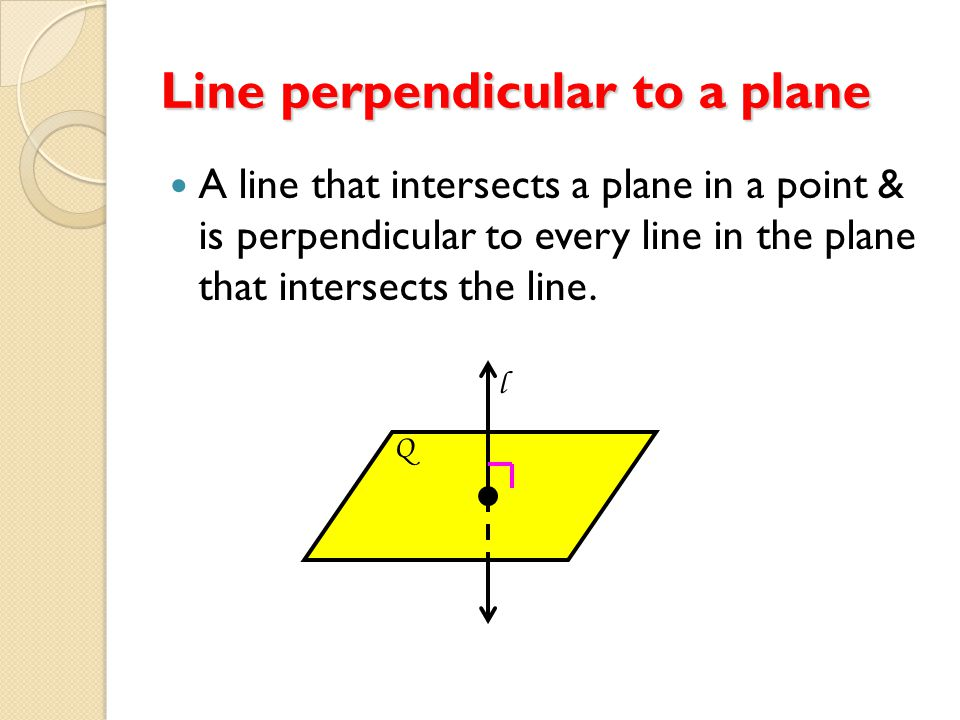 Perpendicular lines Two lines that intersect to form a right angle (90 degrees).