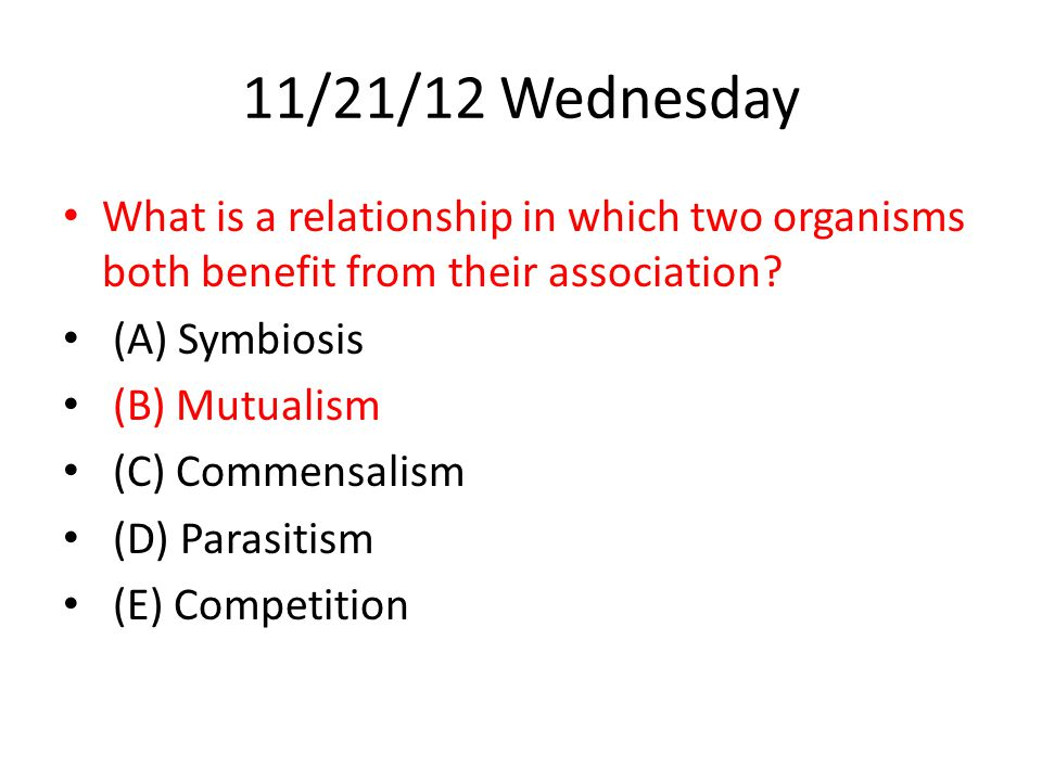 11/21/12 Wednesday What is a relationship in which two organisms both benefit from their association.