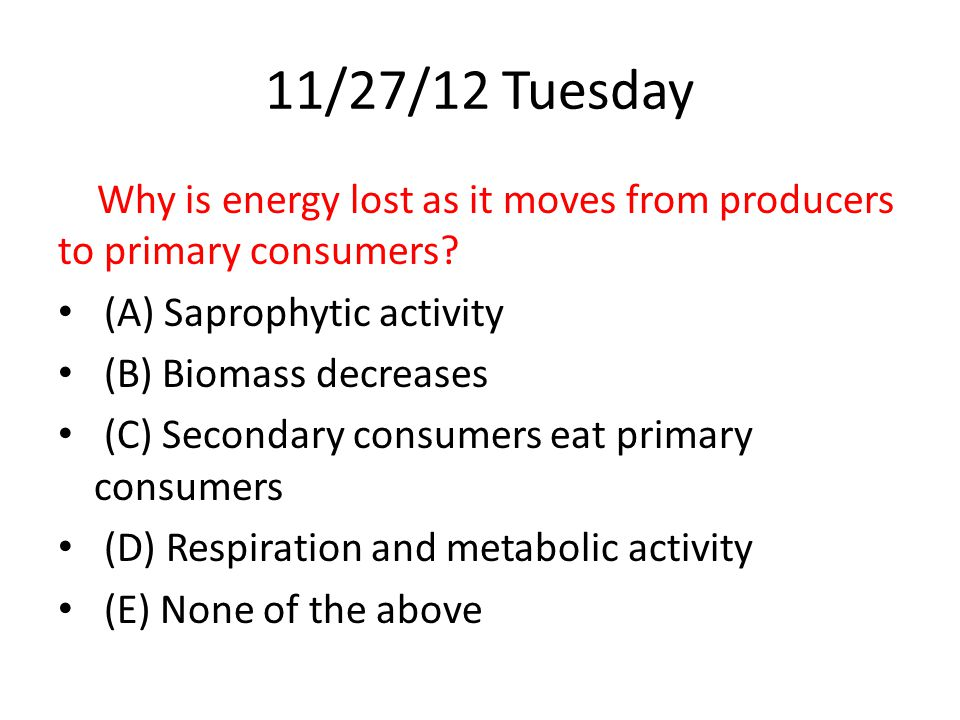 11/27/12 Tuesday Why is energy lost as it moves from producers to primary consumers.