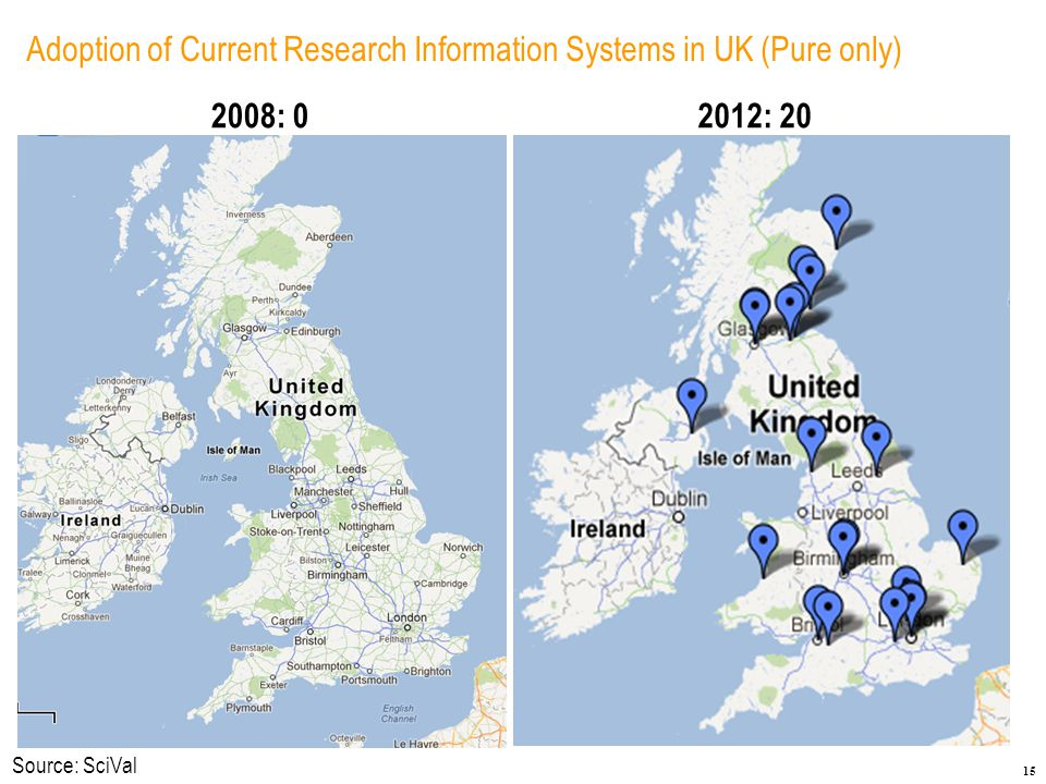 15 Adoption of Current Research Information Systems in UK (Pure only) 2008: 02012: 20 Source: SciVal