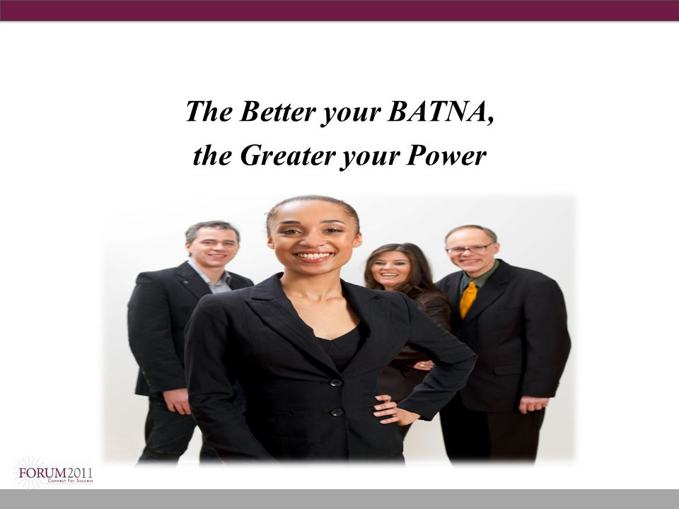 The Better your BATNA, the Greater your Power