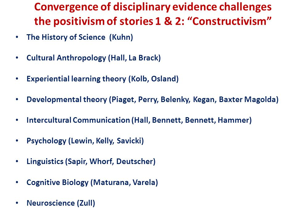 Convergence of disciplinary evidence challenges the positivism of stories 1 & 2: Constructivism The History of Science (Kuhn) Cultural Anthropology (Hall, La Brack) Experiential learning theory (Kolb, Osland) Developmental theory (Piaget, Perry, Belenky, Kegan, Baxter Magolda) Intercultural Communication (Hall, Bennett, Bennett, Hammer) Psychology (Lewin, Kelly, Savicki) Linguistics (Sapir, Whorf, Deutscher) Cognitive Biology (Maturana, Varela) Neuroscience (Zull)