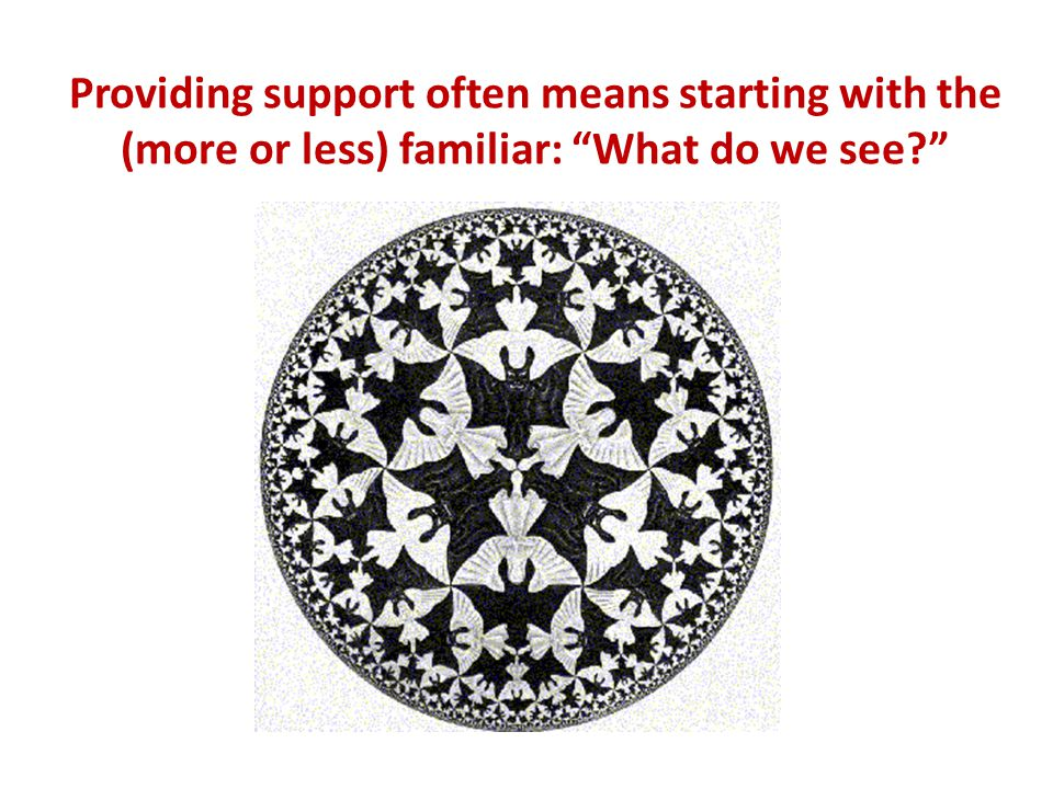 Providing support often means starting with the (more or less) familiar: What do we see