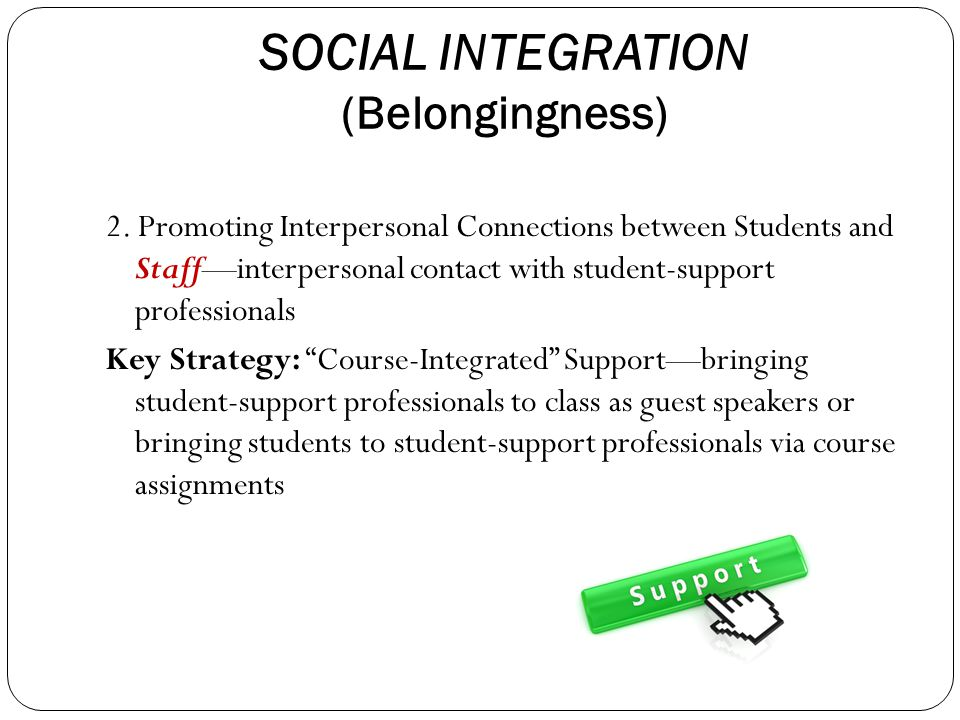 SOCIAL INTEGRATION (Belongingness) 2.