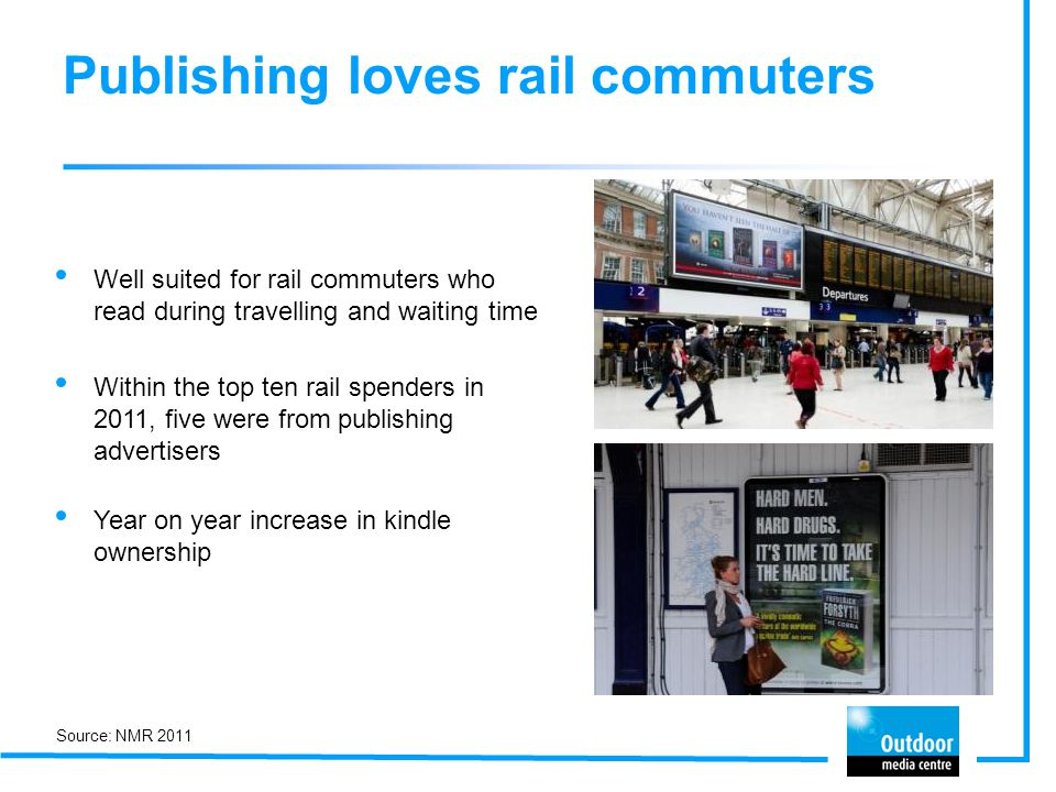 Publishing loves rail commuters Well suited for rail commuters who read during travelling and waiting time Within the top ten rail spenders in 2011, five were from publishing advertisers Year on year increase in kindle ownership Source: NMR 2011