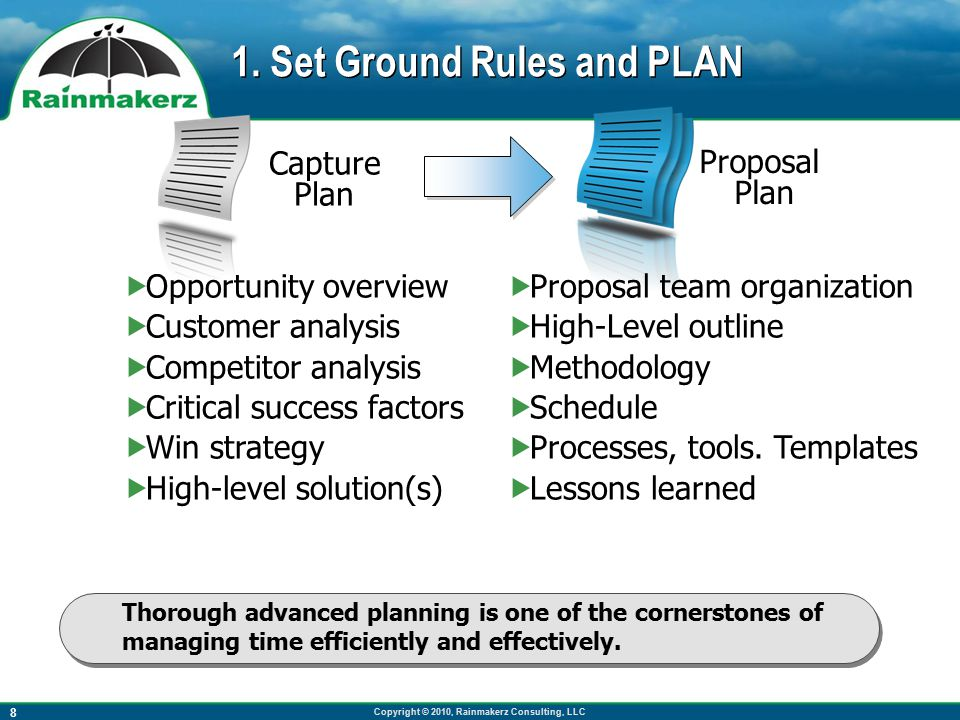 Copyright © 2010, Rainmakerz Consulting, LLC 9 Priorities Constraints RFP Methodologies ShipleyAssociates SM&A CapturePlanning.com LORE Story- boards Pink Gold 15-day Schedule Use a Proposal Development Methodology Use the appropriate methodology and take proposal priorities and constraints into account.