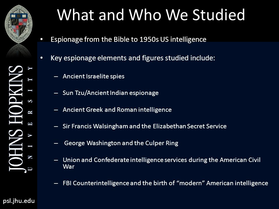 What and Who We Studied Espionage from the Bible to 1950s US intelligence Key espionage elements and figures studied include: – Ancient Israelite spies – Sun Tzu/Ancient Indian espionage – Ancient Greek and Roman intelligence – Sir Francis Walsingham and the Elizabethan Secret Service – George Washington and the Culper Ring – Union and Confederate intelligence services during the American Civil War – FBI Counterintelligence and the birth of modern American intelligence