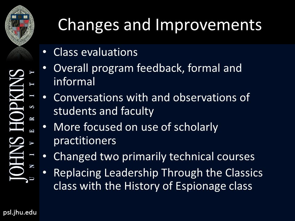 psl.jhu.edu Changes and Improvements Class evaluations Overall program feedback, formal and informal Conversations with and observations of students and faculty More focused on use of scholarly practitioners Changed two primarily technical courses Replacing Leadership Through the Classics class with the History of Espionage class