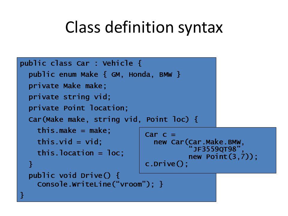 public class Car : Vehicle { public enum Make { GM, Honda, BMW } private Make make; private string vid; private Point location; Car(Make make, string