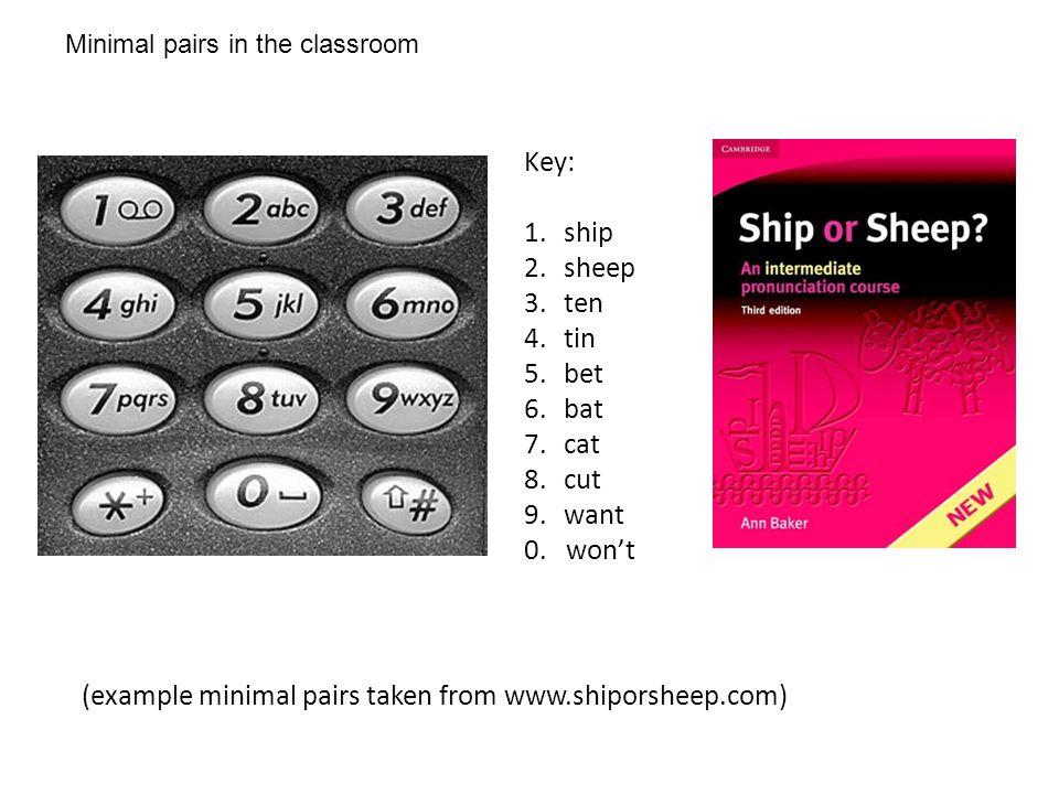 Minimal pairs in the classroom (example minimal pairs taken from www.shiporsheep.com) Key: 1.ship 2.sheep 3.ten 4.tin 5.bet 6.bat 7.cat 8.cut 9.want 0.