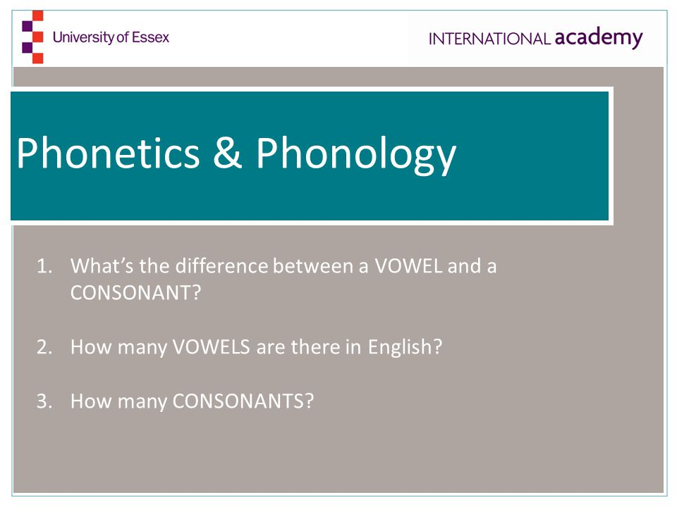 Phonetics & Phonology 1.What's the difference between a VOWEL and a CONSONANT? 2.How many VOWELS are there in English? 3.How many CONSONANTS?