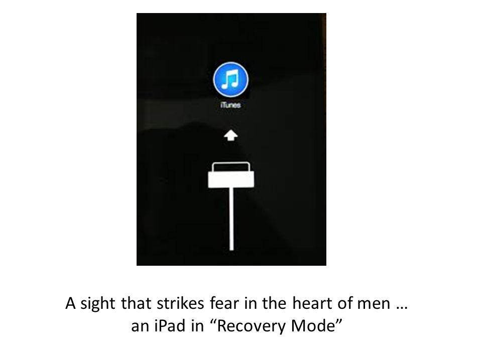 "A sight that strikes fear in the heart of men … an iPad in ""Recovery Mode"""