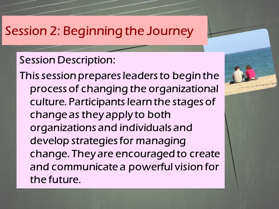 Session Description: This session prepares leaders to begin the process of changing the organizational culture.