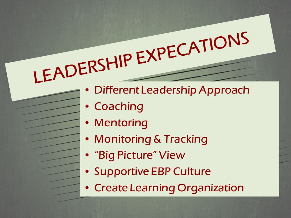 LEADERSHIP EXPECATIONS Different Leadership Approach Coaching Mentoring Monitoring & Tracking Big Picture View Supportive EBP Culture Create Learning Organization