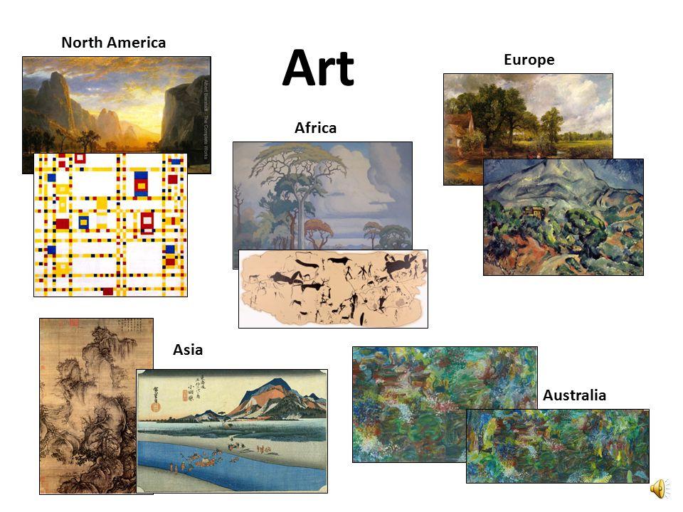 North America Europe Asia Africa Australia Art