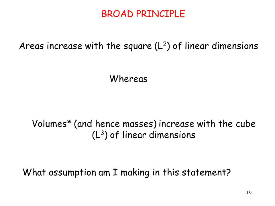 Areas increase with the square (L 2 ) of linear dimensions Whereas Volumes* (and hence masses) increase with the cube (L 3 ) of linear dimensions What assumption am I making in this statement.