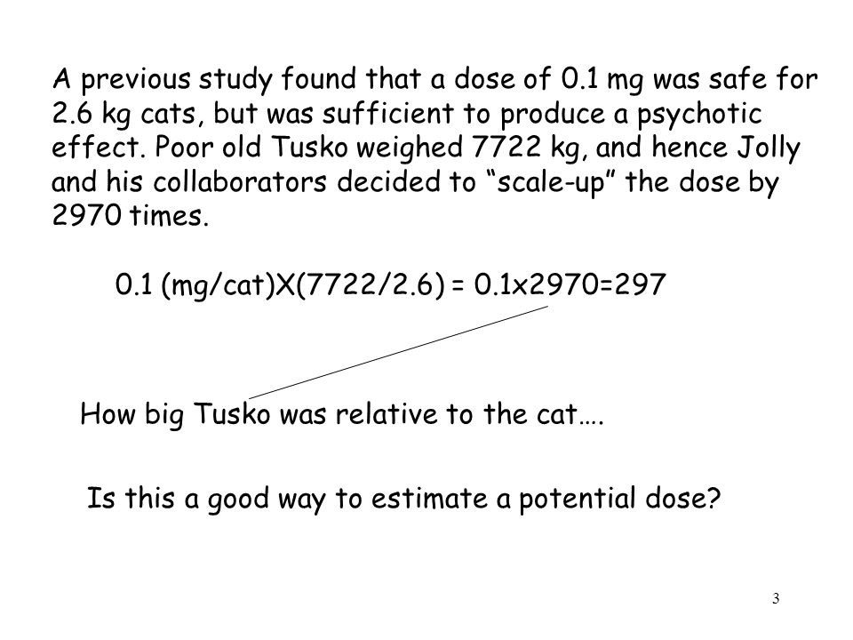 A previous study found that a dose of 0.1 mg was safe for 2.6 kg cats, but was sufficient to produce a psychotic effect.