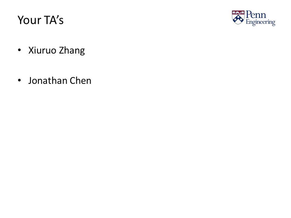 Your TA's Xiuruo Zhang Jonathan Chen