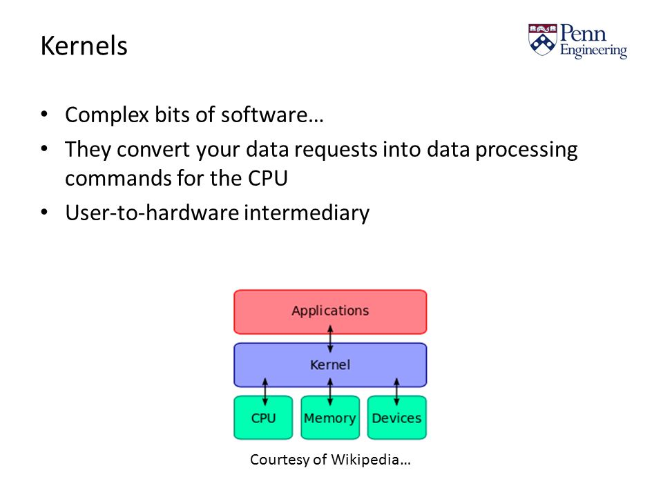 Kernels Complex bits of software… They convert your data requests into data processing commands for the CPU User-to-hardware intermediary Courtesy of Wikipedia…