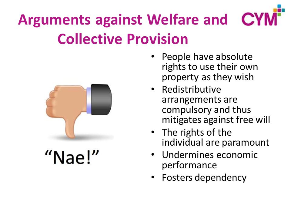 Arguments against Welfare and Collective Provision People have absolute rights to use their own property as they wish Redistributive arrangements are compulsory and thus mitigates against free will The rights of the individual are paramount Undermines economic performance Fosters dependency