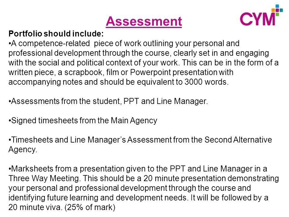 Assessment Portfolio should include: A competence-related piece of work outlining your personal and professional development through the course, clearly set in and engaging with the social and political context of your work.