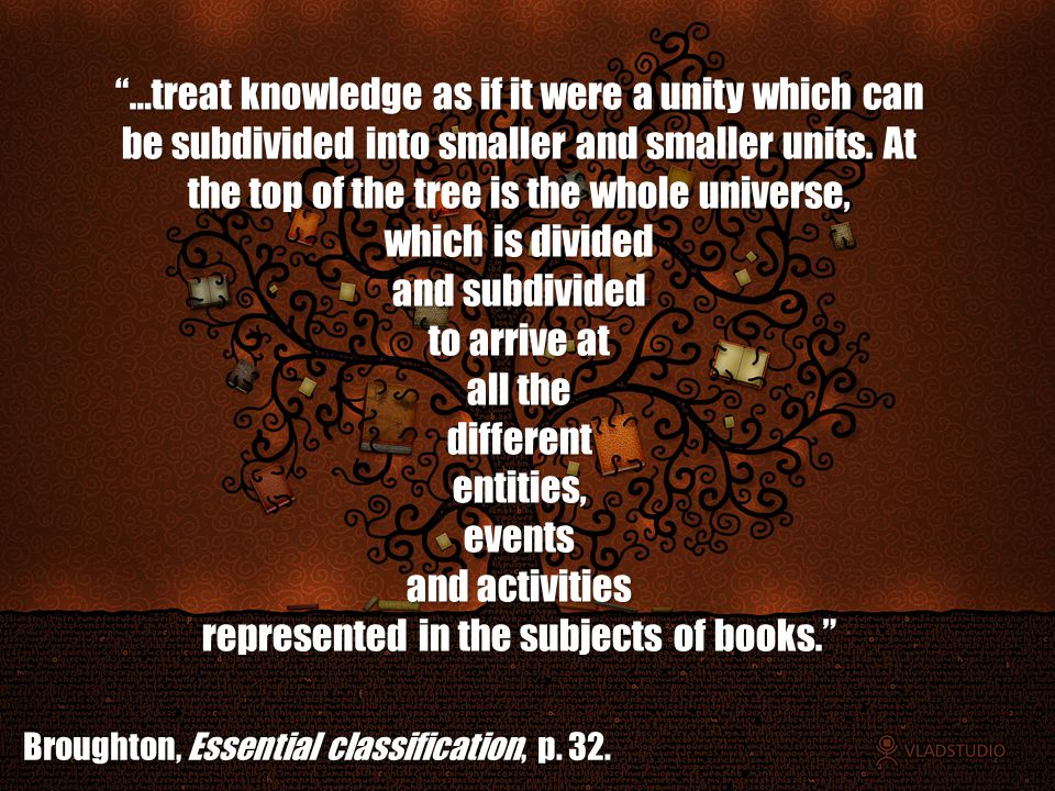 …treat knowledge as if it were a unity which can be subdivided into smaller and smaller units.