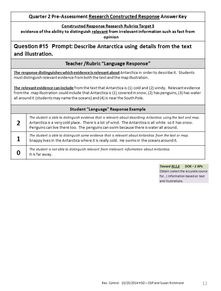 Rev. Control: 10/25/2014 HSD – OSP and Susan Richmond 12 Quarter 2 Pre-Assessment Research Constructed Response Answer Key Constructed Response Resear