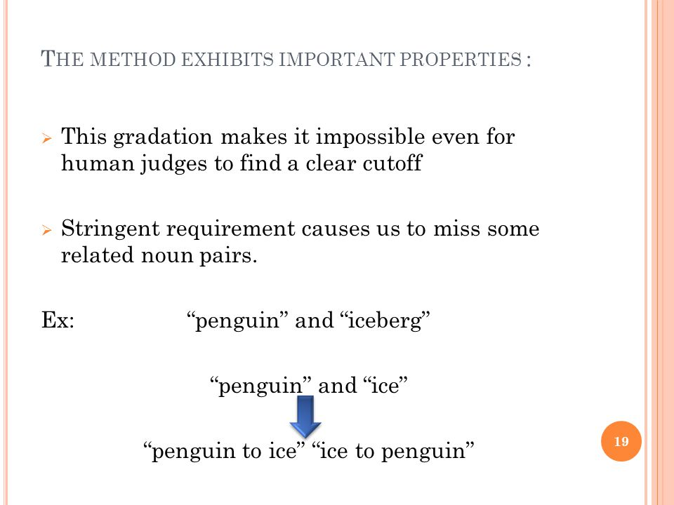 T HE METHOD EXHIBITS IMPORTANT PROPERTIES :  This gradation makes it impossible even for human judges to find a clear cutoff  Stringent requirement causes us to miss some related noun pairs.