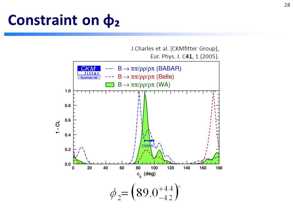 Constraint on φ₂ 28 J.Charles et al. [CKMfitter Group], Eur. Phys. J. C41, 1 (2005).