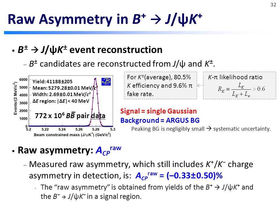 B ±  J/ψK ± event reconstruction – B ± candidates are reconstructed from J/ψ and K ±.