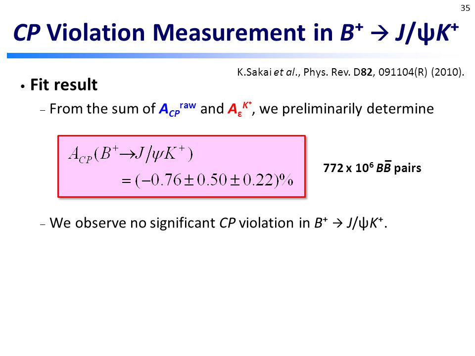 CP Violation Measurement in B⁺  J/ψK⁺ Fit result – From the sum of A CP raw and A ε K⁺, we preliminarily determine – We observe no significant CP violation in B⁺  J/ψK⁺.