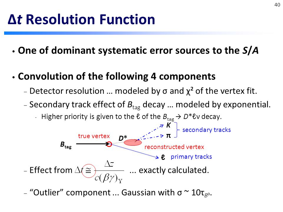 Δt Resolution Function One of dominant systematic error sources to the S/A Convolution of the following 4 components – Detector resolution … modeled by σ and χ² of the vertex fit.