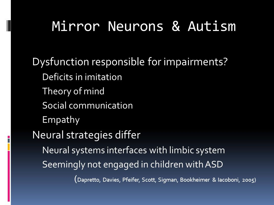 Mirror Neurons & Autism Dysfunction responsible for impairments.
