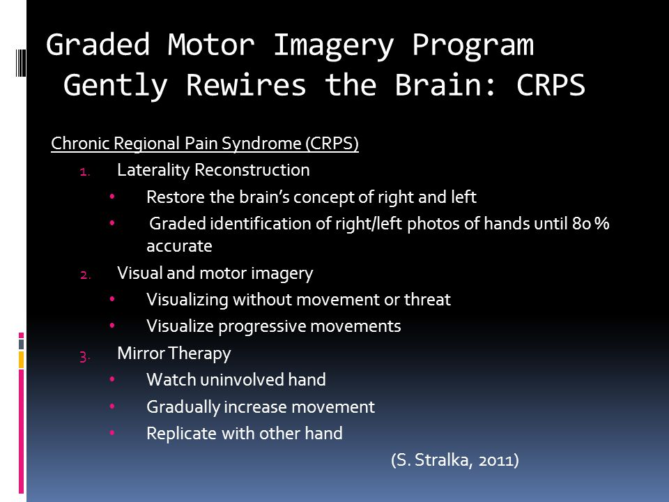 Graded Motor Imagery Program Gently Rewires the Brain: CRPS Chronic Regional Pain Syndrome (CRPS) 1.