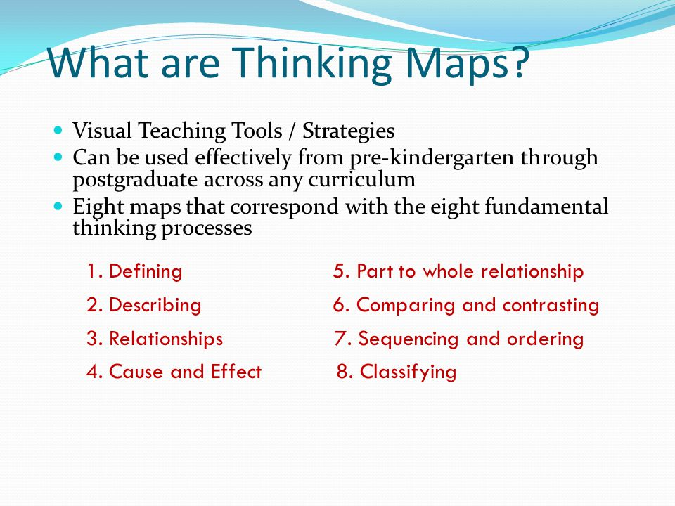 Benefits of Thinking Maps Provide a structure for students to organize their thoughts and create mental visual patterns.