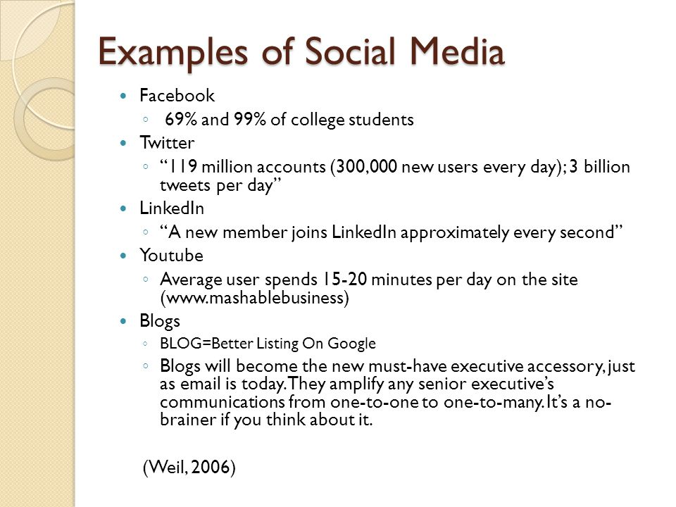 Examples of Social Media Facebook ◦ 69% and 99% of college students Twitter ◦ 119 million accounts (300,000 new users every day); 3 billion tweets per day LinkedIn ◦ A new member joins LinkedIn approximately every second Youtube ◦ Average user spends 15-20 minutes per day on the site (www.mashablebusiness) Blogs ◦ BLOG=Better Listing On Google ◦ Blogs will become the new must-have executive accessory, just as email is today.