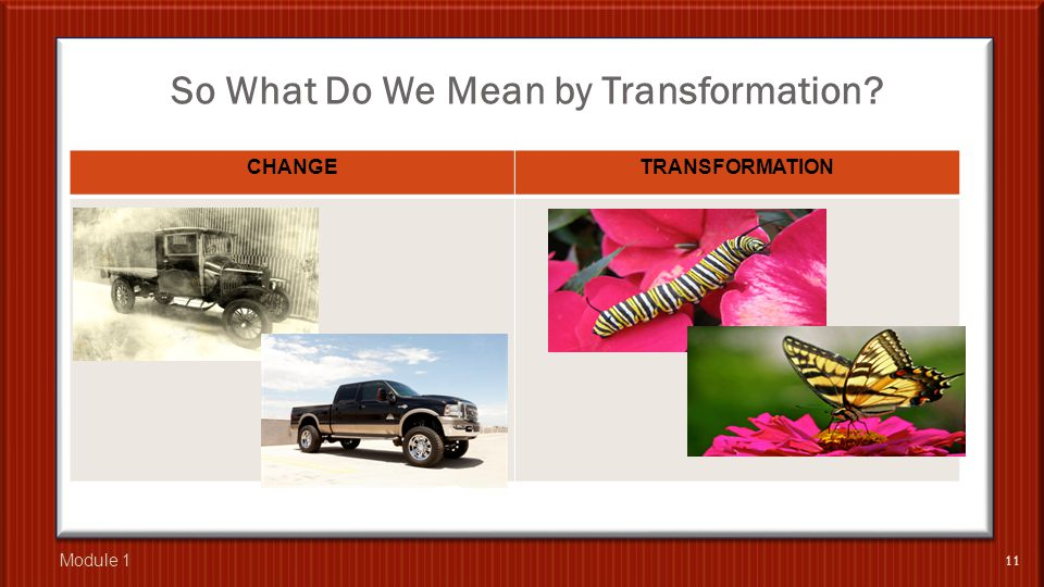 So What Do We Mean by Transformation? CHANGETRANSFORMATION 11 Module 1