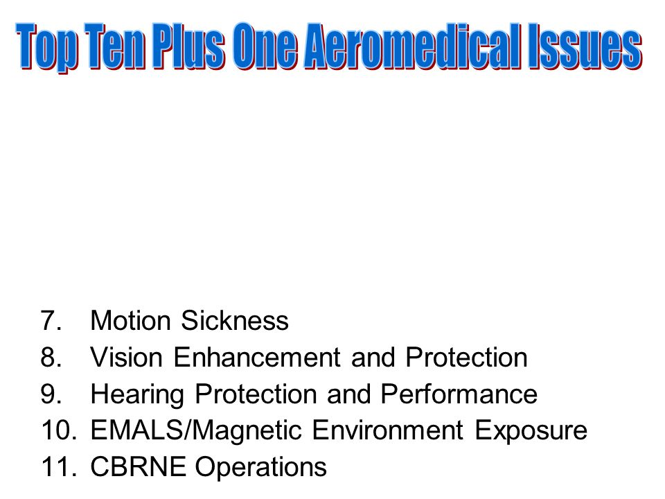 7.Motion Sickness 8.Vision Enhancement and Protection 9.Hearing Protection and Performance 10.EMALS/Magnetic Environment Exposure 11.CBRNE Operations