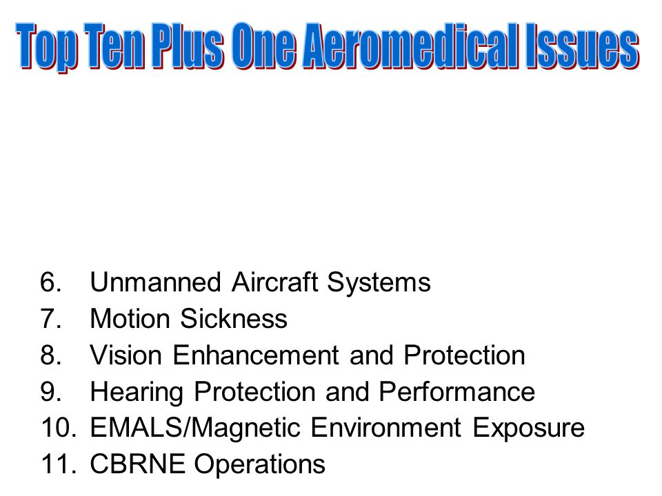6.Unmanned Aircraft Systems 7.Motion Sickness 8.Vision Enhancement and Protection 9.Hearing Protection and Performance 10.EMALS/Magnetic Environment E