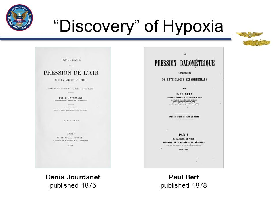 """""""Discovery"""" of Hypoxia Denis Jourdanet published 1875 Paul Bert published 1878"""