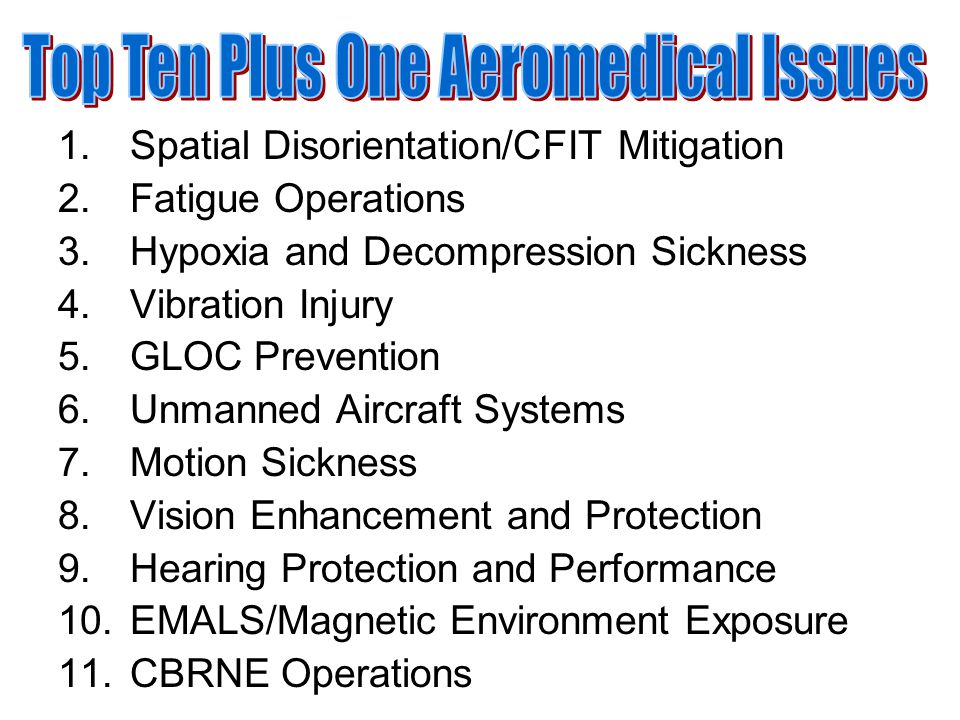 1.Spatial Disorientation/CFIT Mitigation 2.Fatigue Operations 3.Hypoxia and Decompression Sickness 4.Vibration Injury 5.GLOC Prevention 6.Unmanned Aircraft Systems 7.Motion Sickness 8.Vision Enhancement and Protection 9.Hearing Protection and Performance 10.EMALS/Magnetic Environment Exposure 11.CBRNE Operations