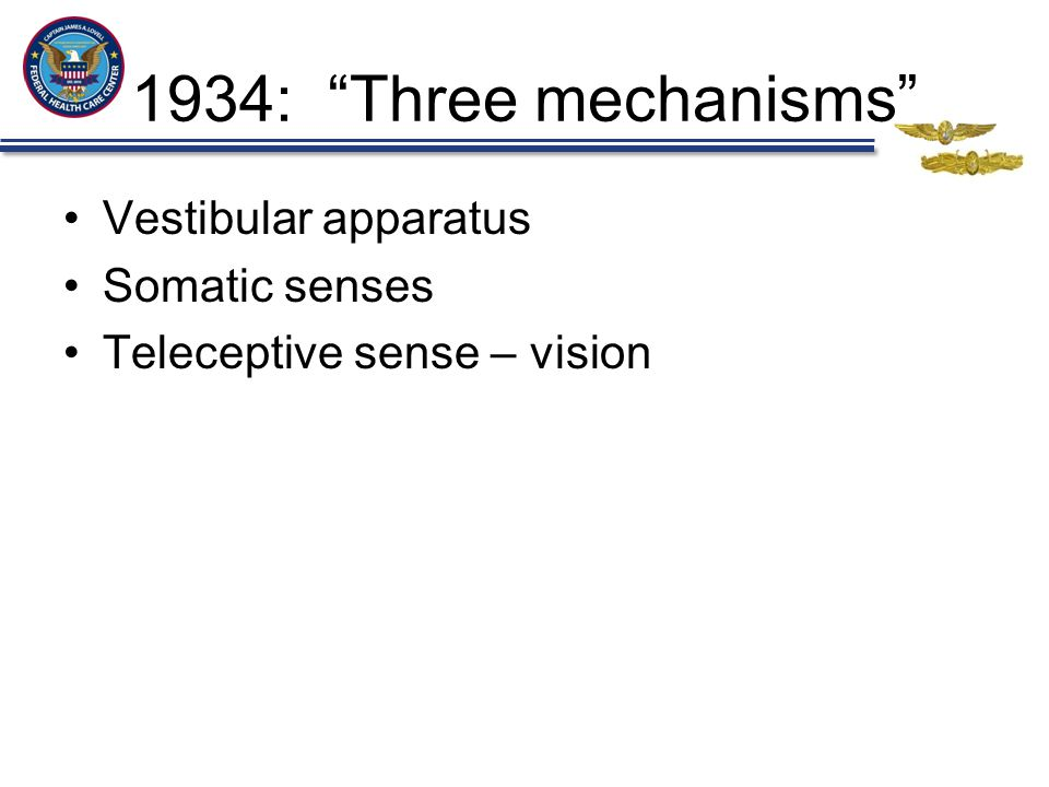 1934: Three mechanisms Vestibular apparatus Somatic senses Teleceptive sense – vision