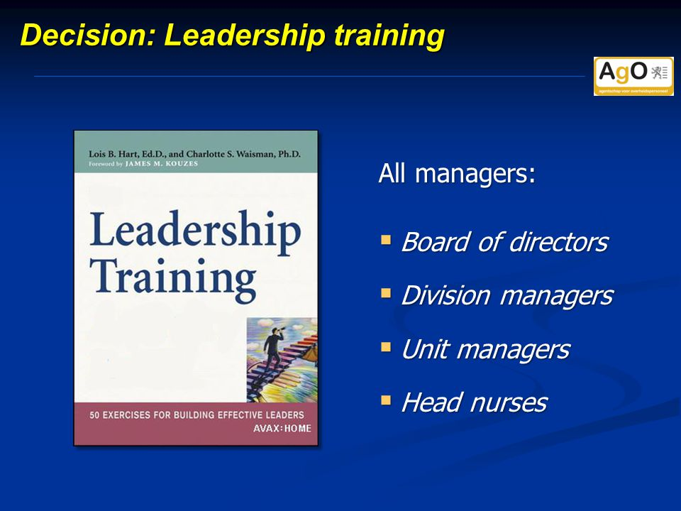 Decision: Leadership training All managers:  Board of directors  Division managers  Unit managers  Head nurses