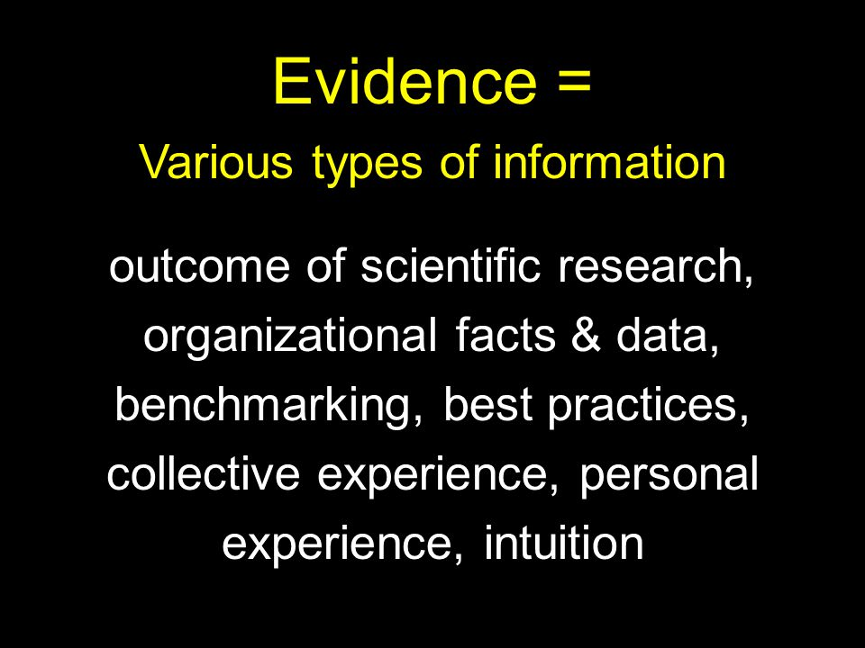 Evidence = Various types of information outcome of scientific research, organizational facts & data, benchmarking, best practices, collective experience, personal experience, intuition