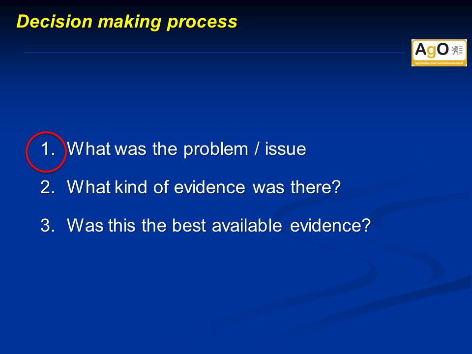 1.What was the problem / issue 2.What kind of evidence was there.