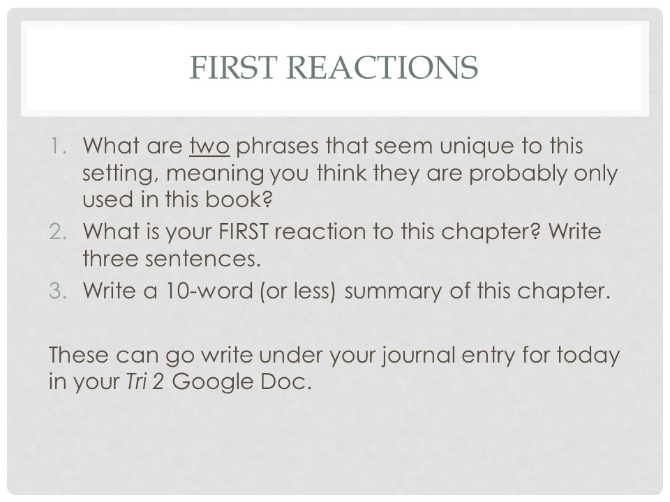 FIRST REACTIONS 1.What are two phrases that seem unique to this setting, meaning you think they are probably only used in this book? 2.What is your FI