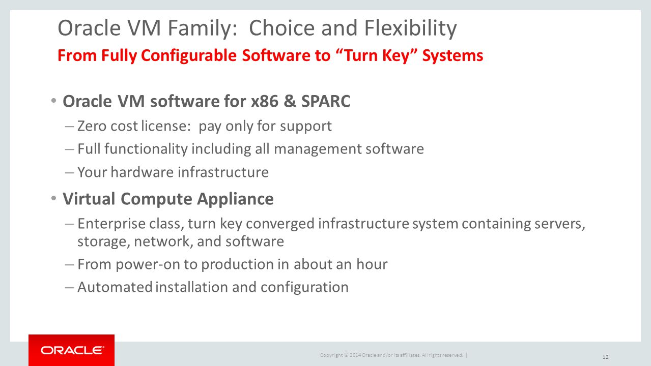 Copyright © 2014 Oracle and/or its affiliates. All rights reserved. | Oracle VM Family: Choice and Flexibility Oracle VM software for x86 & SPARC – Ze