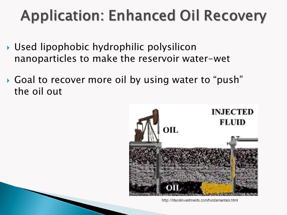 " Used lipophobic hydrophilic polysilicon nanoparticles to make the reservoir water-wet  Goal to recover more oil by using water to ""push"" the oil ou"